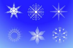 New Year's decoration. Chrystal star, beautiful snow, happy new year Stock Image