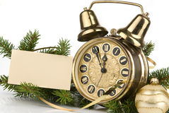 New Year's decoration with an antique clock Stock Photos