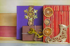 New Year's decoration with gift boxes Stock Photo