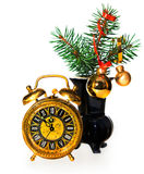 New Year's decoration with an old clock Royalty Free Stock Photos