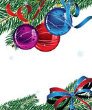 New Year's decorations. Christmas balls, spruce branches and bright bow. New Year's abstract background Royalty Free Stock Image