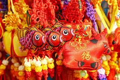 New Year's decorations. Chinese new year festival in Beijing.A variety of New Year's decorations on display at the temple fair Stock Photography