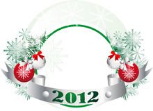 New Year's decorations attributes. Christmas tree ornaments, Christmas decorations with snowmen and tape Vector Illustration