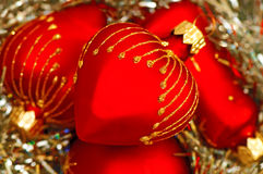 Red heart Christmas balls Royalty Free Stock Photography
