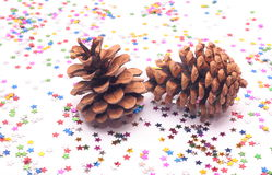 New Year's decorations and spruce cones Stock Image