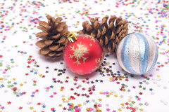 New Year's decorations and spruce cones Stock Photography
