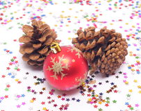 New Year's decorations and spruce cones Royalty Free Stock Photos