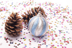 New Year's decorations and spruce cones Royalty Free Stock Image