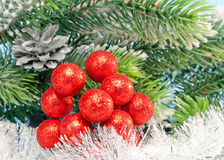 New Year's  decorative berries and tinsel,Christmas still life Royalty Free Stock Photo