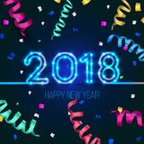 New Year`s design. 2018 the year of Fiery Dogs. Vector neon figures with lights. Greeting card background with serpentine and confetti Royalty Free Stock Image