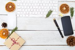 New Year`s desktop with Christmas decorations. Copy space. New Year`s desktop with Christmas decorations royalty free stock photo