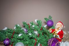 New Year`s Easter and Easter decoration with Santa Claus playing royalty free stock photo