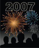 New year's eve 2007 fireworks. Vector illustration of a crowd celebrating new years eve 2007, watching fireworks Stock Images