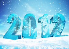 New Year's Eve 2012 Ice figures. Big ice digits 2012 with snow and sky on background Vector Illustration