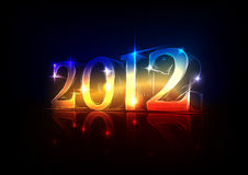 New Year's Eve 2012, a neon design. Drawn by hand Stock Photos