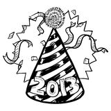 New Year's Eve 2013 party hat sketch. Doodle style New Year's Eve celebration sketch including party hat, confetti, and 2013 date marker. Vector format Stock Illustration
