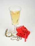 New Year's Eve. Cava and something rec royalty free stock photo