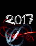 New Year`s Eve 2017 with Abstract Lights Royalty Free Stock Photos
