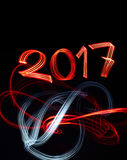 New Year`s Eve 2017 with Abstract Lights. Background Royalty Free Stock Photos