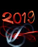 New Year`s Eve 2019 with Abstract Lights royalty free stock photography