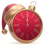 New Year`s Eve alarm clock bauble Christmas ball decoration. Santa hat ornament red golden. Traditional wintertime future midnight countdown beginning holidays vector illustration