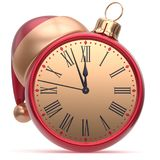 New Year`s Eve alarm clock Santa hat Christmas ball decor. New Year`s Eve alarm clock Christmas ball Santa hat decoration bauble ornament red golden. Traditional royalty free illustration