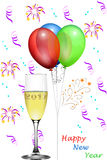 New Year`s Eve. Balloons and confetti and champagne glass and text Happy New Year, new year´s card Stock Images