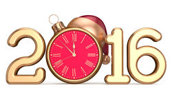 New 2016 Year's Eve beginning clock Santa hat Christmas ball Stock Images