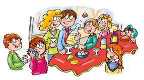 New Year's Eve big party with friends eating drinking and celebrating. Royalty Free Stock Image
