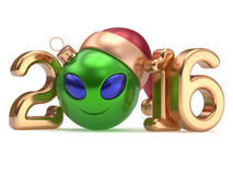 New Year's Eve 2016 calendar date smiley alien face decoration. New Year's Eve 2016 calendar date smiley alien face cartoon decoration Christmas ball bauble Stock Photo