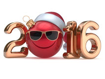 New 2016 Year's Eve calendar date smiley face emoticon red. New 2016 Year's Eve calendar date smiley face emoticon bauble Christmas ball cartoon decoration Santa Royalty Free Stock Photos