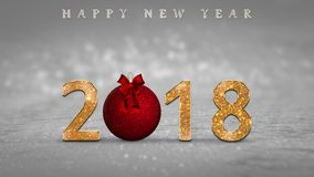 2018 New Year`s eve card, illustration with golden, glitter numbers, red Christmas ball and Happy New Year text. On silver, grey snow background with bokeh Stock Photos