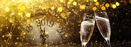 New Year`s Eve 2019 Celebration Background. With Champagne stock image
