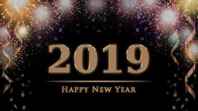 2019 New Year`s eve celebration card with colorful fireworks, confetti, ribbons stock photography