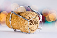 New Year's Eve. Champagne cork new year's 2014 Stock Images