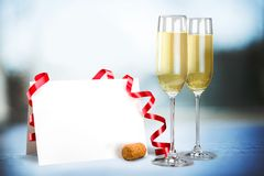 New Year's Eve. Champagne New Year's Day Toast Wine Champagne Flute Greeting Card royalty free stock image
