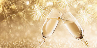 New Year`s Eve with champagne Stock Photo