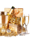 New Year's Eve. Champagne and Presents Stock Photo
