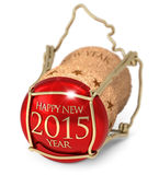 New Year's Eve. Champagne red cork  on white background Royalty Free Stock Photography