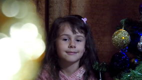 New Year's Eve, Christmas the child decorate the Christmas tree stock video
