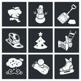 New Year's Eve and Christmas Vector Icons Set Royalty Free Stock Photo