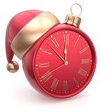 New Year`s Eve clock bauble Santa hat Christmas ball time Stock Images