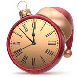 New Year`s Eve clock bauble Santa hat Christmas ball time Stock Photography