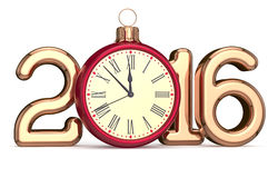 New Year's Eve 2016 clock Christmas ball bauble decoration Royalty Free Stock Photos