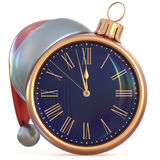 New Year`s Eve clock Christmas ball midnight hour decoration Stock Photo