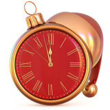 New Year`s Eve clock Christmas ball midnight hour party time Royalty Free Stock Photo