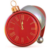 New Year`s Eve clock Christmas ball midnight hour pressure. New Year`s Eve clock Christmas ball midnight hour countdown time Santa Claus hat decoration ornament vector illustration