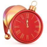 New Year`s Eve clock Christmas ball midnight last hour pressure Stock Image