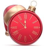 New Year`s Eve clock Christmas ball Santa hat decoration red Royalty Free Stock Image