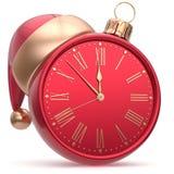 New Year`s Eve clock Christmas ball Santa hat decoration red. New Year`s Eve clock Christmas ball Santa hat decoration bauble ornament red sparkly. Traditional royalty free illustration